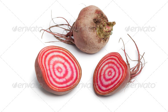 Whole and partial chioggia beets - Stock Photo - Images