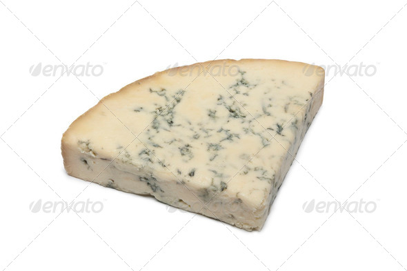Wedge of Blue Stilton cheese - Stock Photo - Images