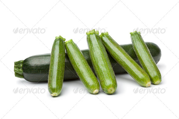 Courgette and mini courgettes - Stock Photo - Images