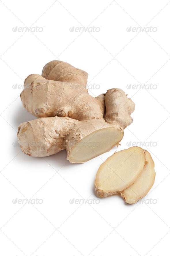 Fresh ginger root and slices - Stock Photo - Images
