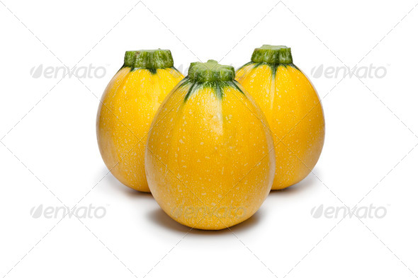Yellow round courgettes - Stock Photo - Images