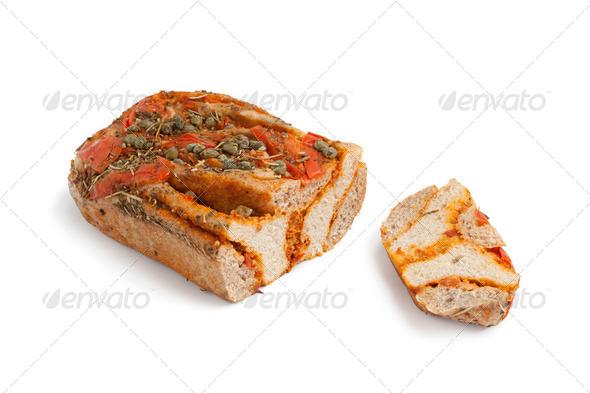 Fresh tomato Caper bread - Stock Photo - Images