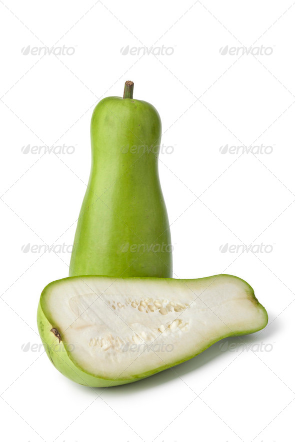 Whole and half green bottle gourd - Stock Photo - Images