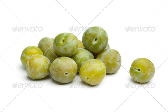 Whole fresh greengage plums - Stock Photo - Images