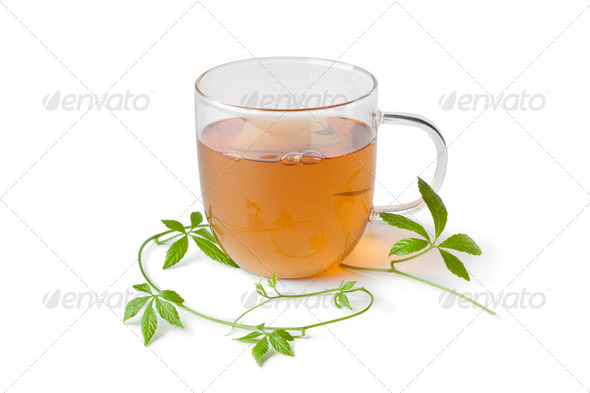 Cup of tea with jiaogulan herb - Stock Photo - Images