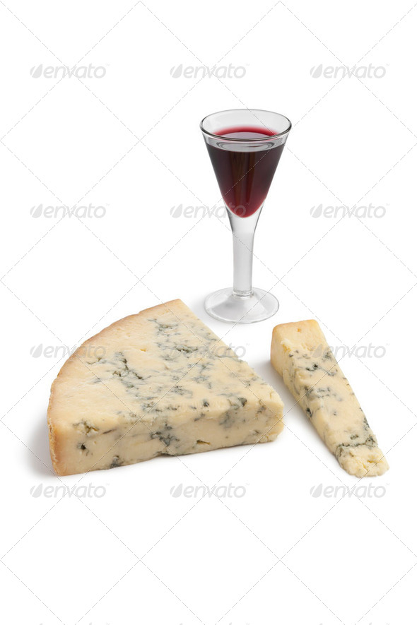 Stilton cheese with a glass of port - Stock Photo - Images