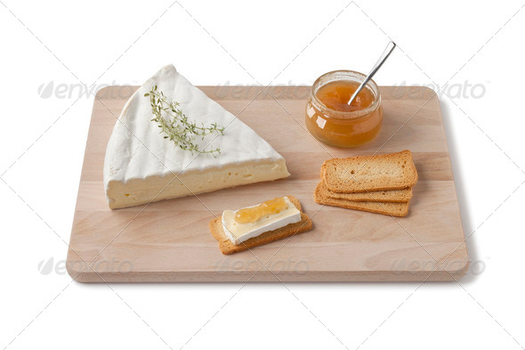 Brie cheese with thyme and toast - Stock Photo - Images