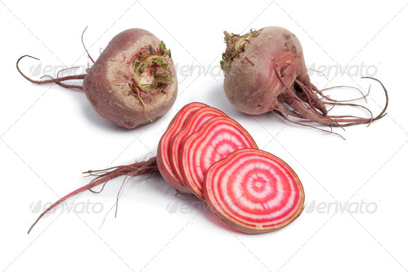 Whole chioggia beets and slices - Stock Photo - Images
