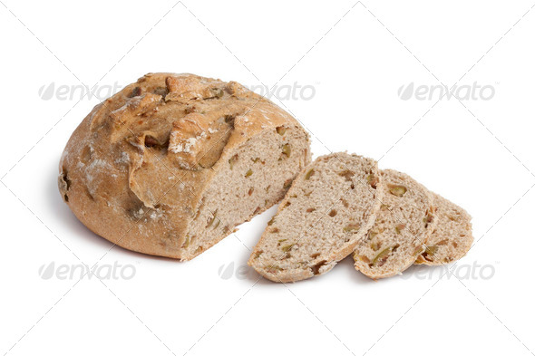 Fresh olive bread and slices - Stock Photo - Images