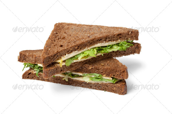 Healthy cheese and salad sandwich - Stock Photo - Images