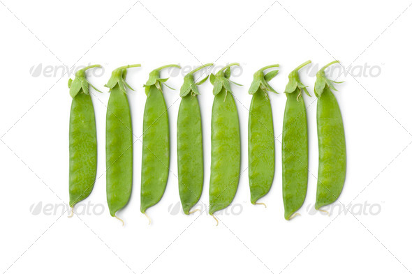 Sugar snap peas in a row - Stock Photo - Images