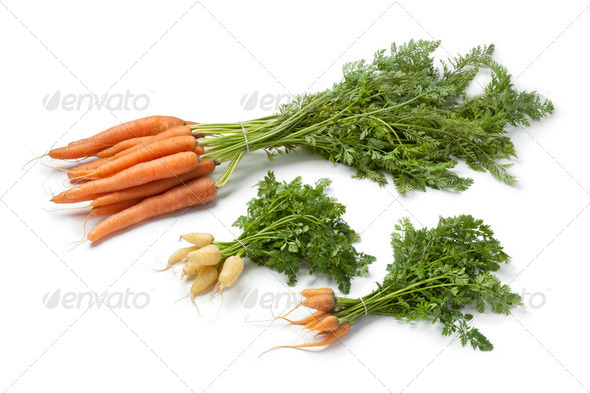 Fresh large and mini carrots - Stock Photo - Images