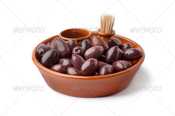 Bowl with Calamata olives - Stock Photo - Images