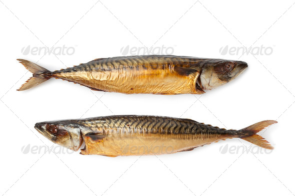 Whole smoked mackerel fishes - Stock Photo - Images