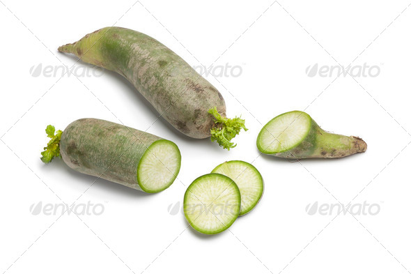Whole and sliced green radish - Stock Photo - Images