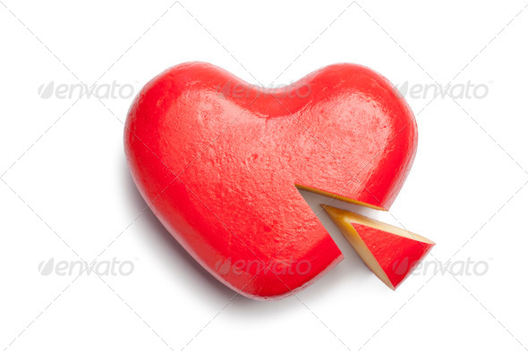Heart shaped Gouda cheese - Stock Photo - Images