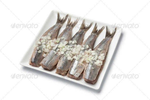 Traditional fresh herring with onions - Stock Photo - Images