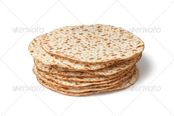 Fresh pile of matzah - Stock Photo - Images