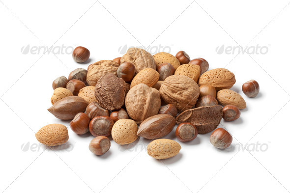 Mixed nuts in the shell - Stock Photo - Images