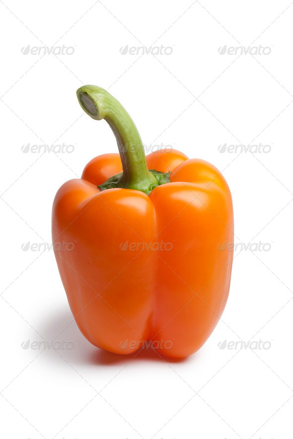 Whole fresh orange bell pepper - Stock Photo - Images
