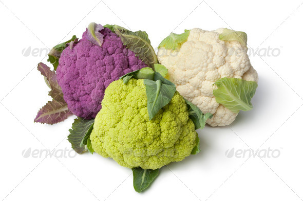 Fresh purple, green and white cauliflower - Stock Photo - Images