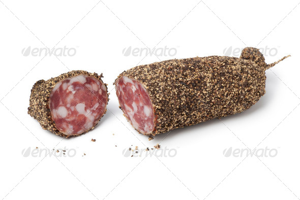 French pepper salami - Stock Photo - Images