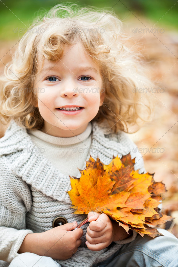 Child in autumn - Stock Photo - Images