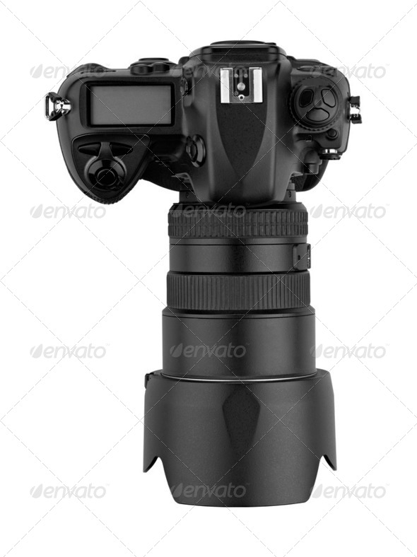professional digital  Lens Reflex-top view (clipping path) - Stock Photo - Images