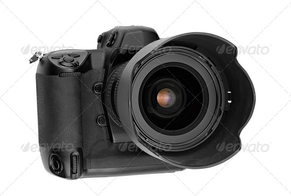 professional digital Lens Reflex- front view (clipping path) - Stock Photo - Images