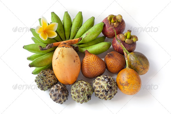 Tropical assorted fruit - Stock Photo - Images