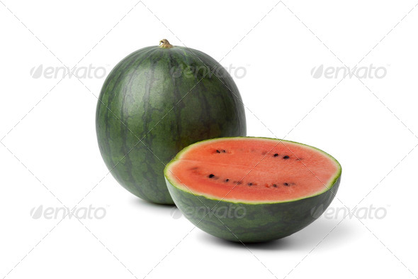 Whole and half watermelon - Stock Photo - Images