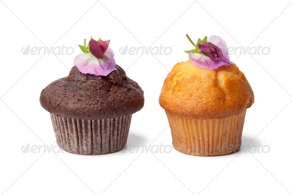 Cupcakes with fresh flowers - Stock Photo - Images