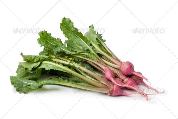 Fresh red baby turnips - Stock Photo - Images