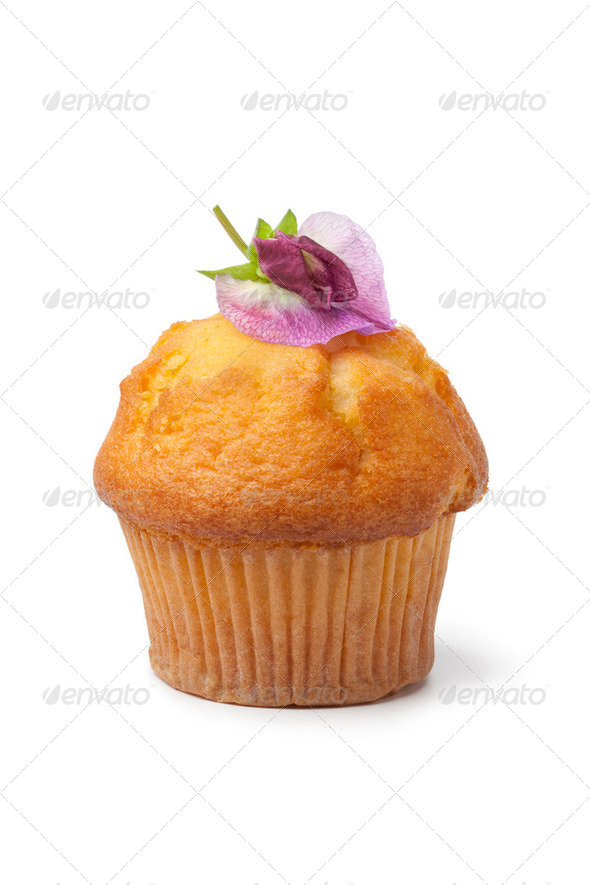 Muffin with fresh flower - Stock Photo - Images