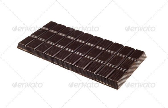 Chocolate dark tablet isolated on white background - Stock Photo - Images