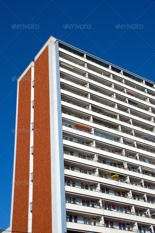 Typical apartment building in East Berlin - Stock Photo - Images