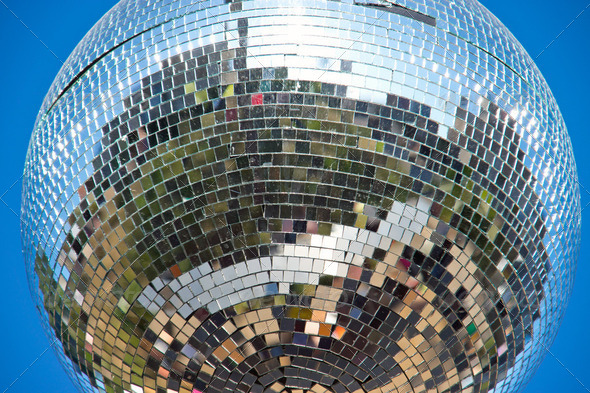 Disco ball hanging outdoors - Stock Photo - Images
