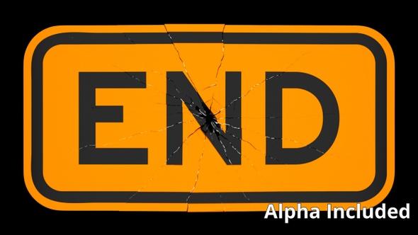 Orange End Sign Shattering on Black with Matte