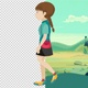 Girl Walk Cartoon - VideoHive Item for Sale