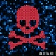 4K Futuristic Digital Data Nodes Being Hacked Showing Skull and Crossbones with Computer Virus - VideoHive Item for Sale