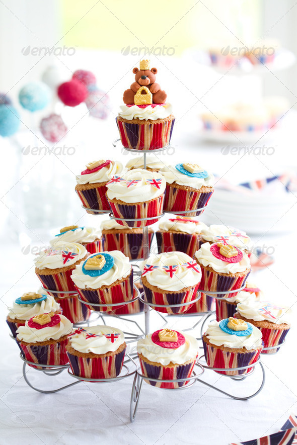 Royal Jubilee cupcakes - Stock Photo - Images