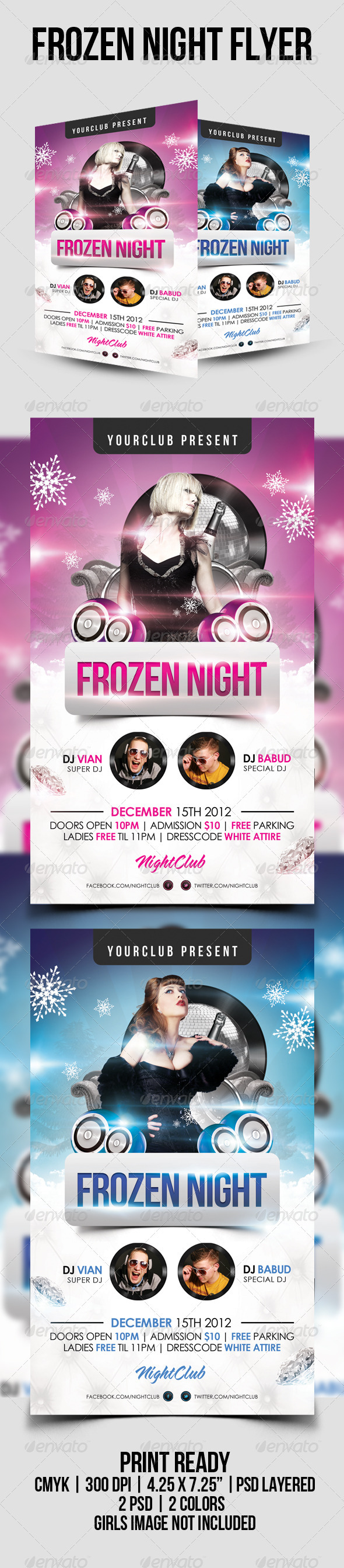 Frozen Night Psd Flyer Template - Clubs & Parties Events