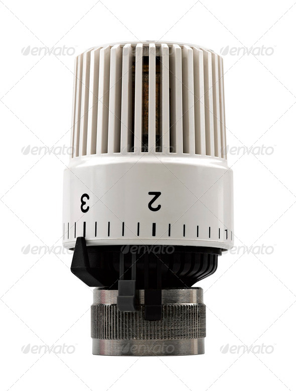 Heater thermostat. Close-up. Isolated on white background. - Stock Photo - Images
