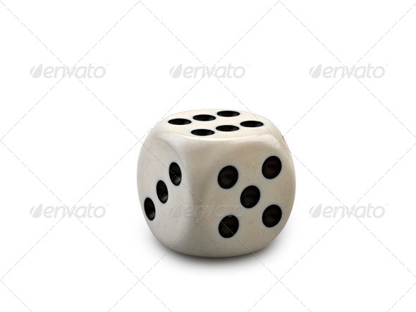 Old and used dice isolated on white background - Stock Photo - Images