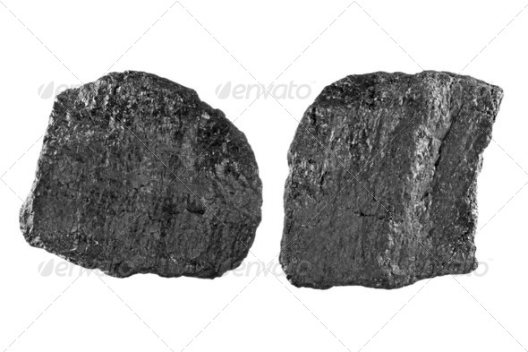Coal on white - Stock Photo - Images