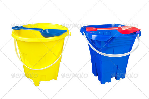 Beach buckets - Stock Photo - Images