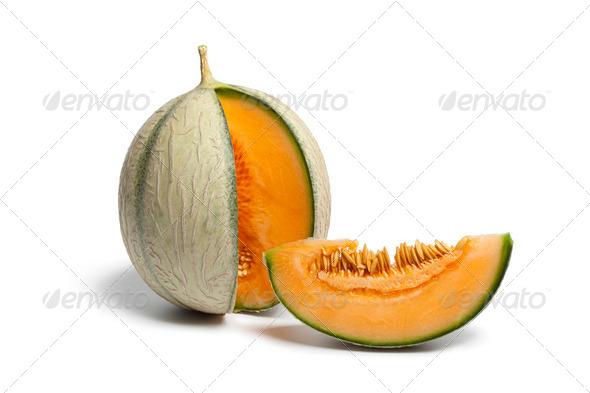 Fresh ripe Charentais melon - Stock Photo - Images