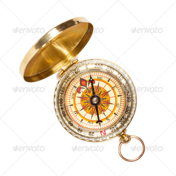 Vintage golden compass isolated - Stock Photo - Images