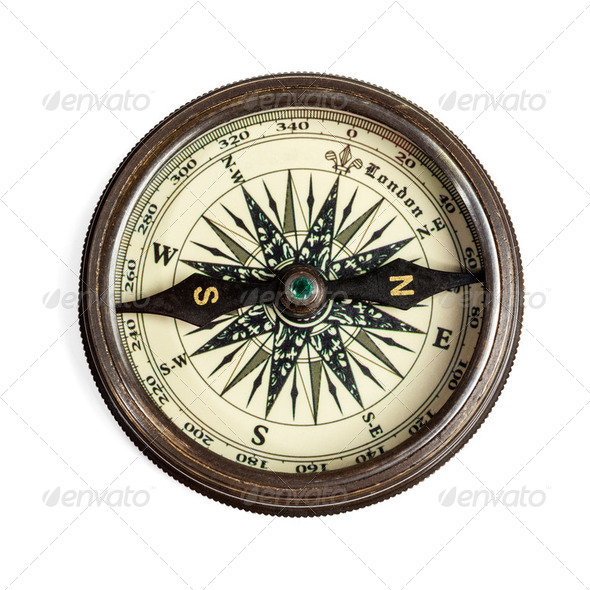 Old vintage compass isolated - Stock Photo - Images