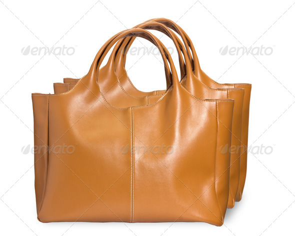 Yellow female bags on white - Stock Photo - Images